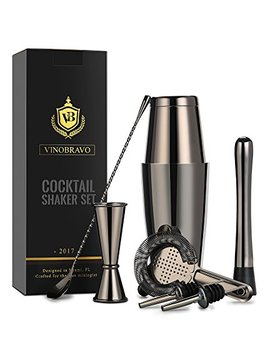 Boston Cocktail Shaker Bar Set By Vino Bravo: 18oz & 28oz Weighted Shaker Tins, Hawthorne Cocktail Strainer, Double Jigger, 12'' Mixing Spoon, 7'' Drink Muddler And Recipes (Black) by Vino Bravo