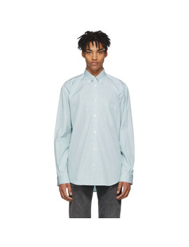Blue & White Striped Logo Shirt by Balenciaga