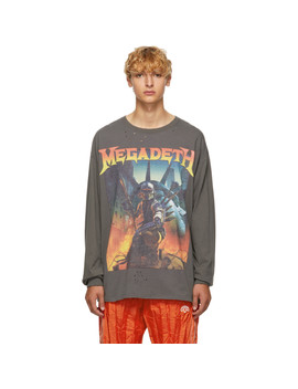 Black Megadeth Fatalbot Long Sleeve T Shirt by R13
