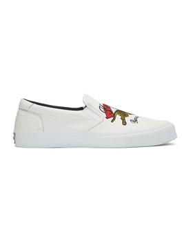 White K Skate Slip On Sneakers by Kenzo