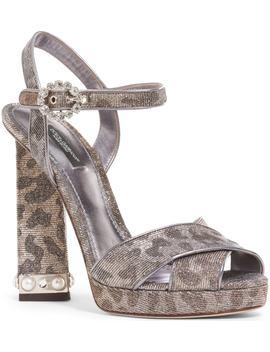 Metallic Leopard Print Sandal by Dolce&Gabbana