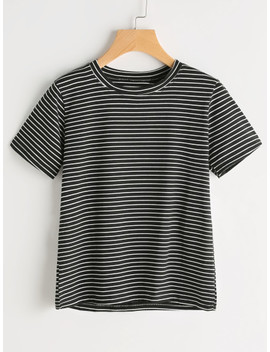 Short Sleeve Pinstripe Tshirt by Sheinside