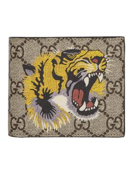 Beige Gg Supreme Tiger Bifold Wallet by Gucci