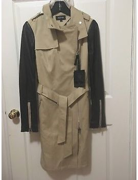 Mackage Avra Neo Trench Tan Asymmetric Zip Leather Sleeve Coat Small Nwt by Mackage