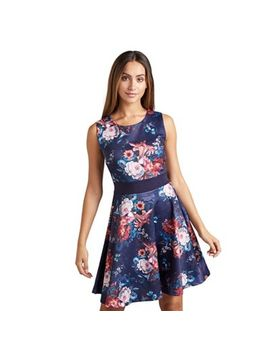 Mela London   Navy Clustered Floral 'celyna' Fit And Flare Dress by Mela London