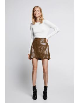 Shiny Snakeskin  Effect Mini Skirtskirts Woman by Zara
