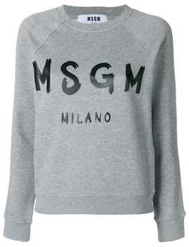 Msg Mcropped Logo Print Sweatshirthome Women Msgm Clothing Sweaters by Msgm
