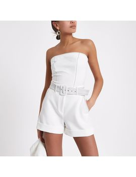 White Contrast Stitch Belted Shorts by River Island