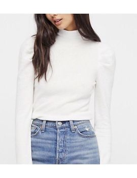 Nwt Free People Tattooed Heart Puff Long Sleeve Xs Ivory Mock Neck Turtleneck by Free People