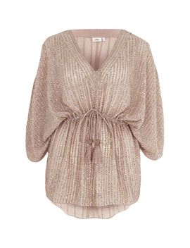 Beige Sequin Embellished Tie Waist Kimono Top by River Island
