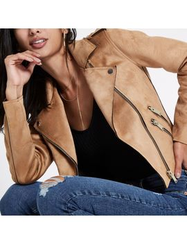 Brown Faux Suede Biker Jacket by River Island