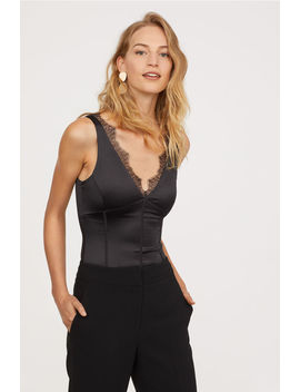 Lace Trimmed Satin Body by H&M