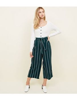 Green Stripe Tie Waist Culottes by New Look