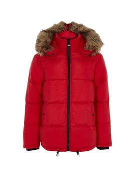 Red Faux Fur Trim Hooded Puffer Coat by River Island