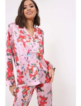 Pink Fruit Print Pyjama Shirt by I Saw It First