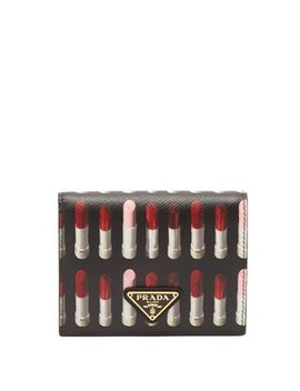 Lipstick Print Leather Compact Wallet by Prada