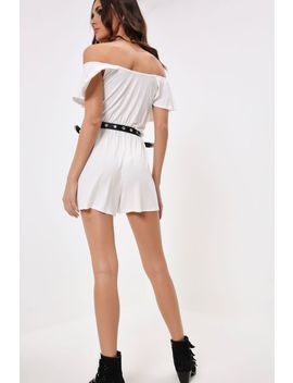 Cream Bardot Frill Playsuit by I Saw It First