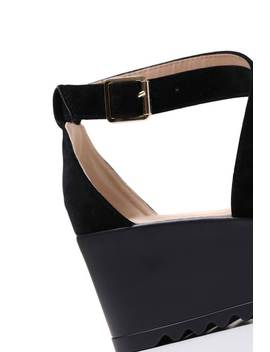 Black Suede Wedge Buckle Sandals by I Saw It First