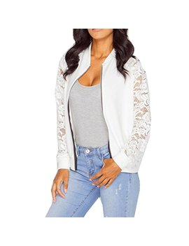 Harrystore Women's Lace Patchwork Floral Vintage Bomber Jacket Lady Sexy Long Sleeve Mesh Embroidered Crop Bomber Short Coat by Harrystore