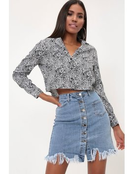 Light Wash Button Front Frayed Denim Mini Skirt by I Saw It First