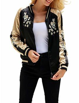 Simplee Women's Casual Floral Embroidery Reversible Satin Bomber Jacket by Simplee Apparel