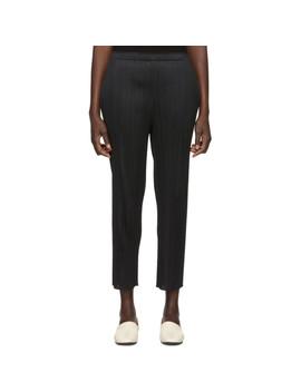 Black Basics Pleated Skinny Trousers by Pleats Please Issey Miyake