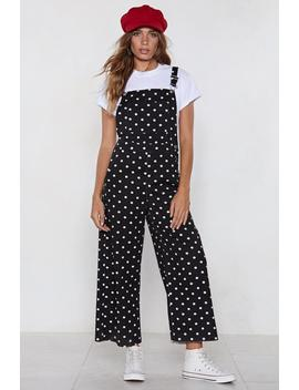 Along The Dotted Line Polka Dot Overalls by Nasty Gal