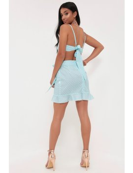 Blue Stripe Ruffle Hem Tea Skirt by I Saw It First