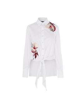 Embroidered Tie Hem Shirt by Hd031 Kd194 Dd017 Kd153 Dd013 Dd223