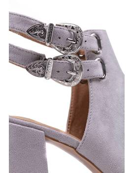 Grey Open Toe Western Buckle Ankle Boot by I Saw It First