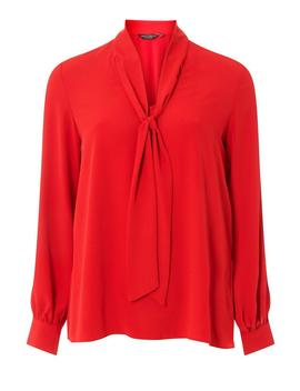Red Pussybow Long Sleeve Top by Dorothy Perkins