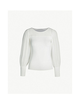 Chiffon Panel Relaxed Fit Jersey And Chiffon Blouse by Karen Millen