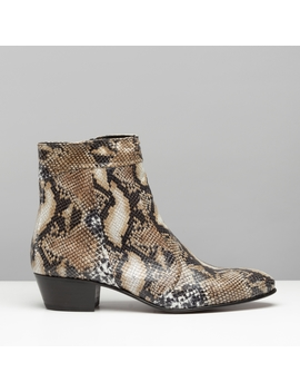 Club Cubano Emmanuel Mens Snakeskin Real Leather Cuban Heel Boots Made In Spain by Club Cubano