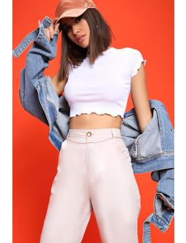White Ribbed Cabbage Hem Crop T Shirt by I Saw It First