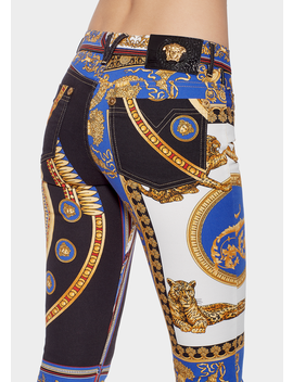 The Lovers Print Cropped Jeans by Versace