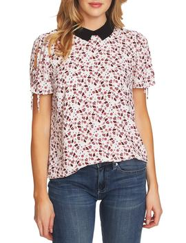Victoria Contrast Collar Tie Sleeve Floral Blouse by Cece