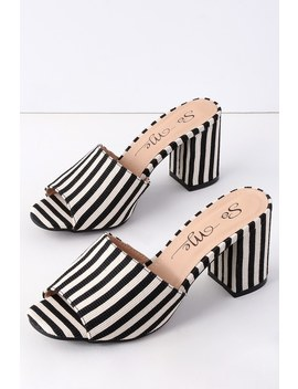 Sussudio Black And White Striped Peep Toe Mules by Lulu's