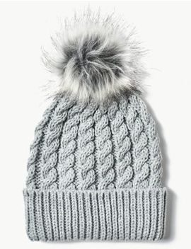 Fur Bobble Beanie Hat by Marks & Spencer