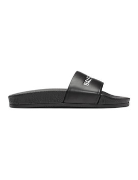 Black Leather Pool Slides by Balenciaga