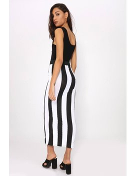 Black/White Vertical Stripe Maxi Skirt by I Saw It First