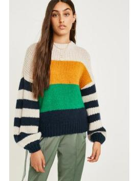 Uo Katie Multi Stripe Bubble Sleeve Jumper by Urban Outfitters