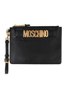 Leather Pouch Clutch by Moschino