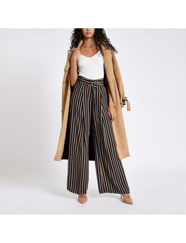 Navy Tan Stripe Wide Leg Belted Trousers by River Island