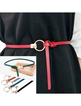 Thin Pu Leather Belt Female Red Brown Black White Yellow Waist Belts Women Dress Strap Cinturon Mujer Cinto Feminino Cinturones by Faitolagi