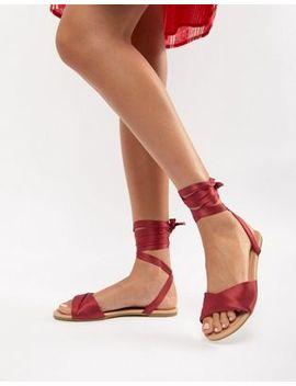 Asos Design Flashing Tie Leg Flat Sandals by Asos Design