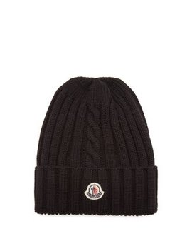 Ribbed Knit Wool Beanie Hat by Moncler