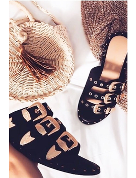Black Tripe Buckle Western Sliders   Raeven by Rebellious Fashion
