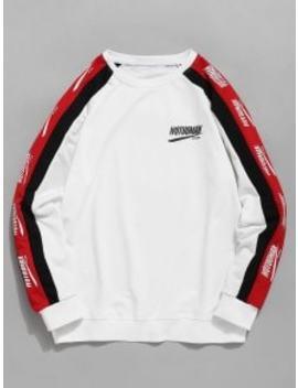 Raglan Sleeve Letter Stripes Sweatshirt   White Xl by Zaful