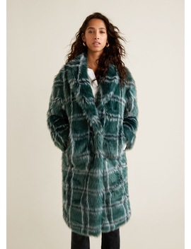 Checked Faux Fur Coat by Mango