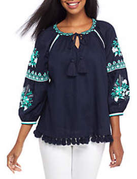 Three Quarter Sleeve Taper Trim Peasant Top by Crown & Ivy™